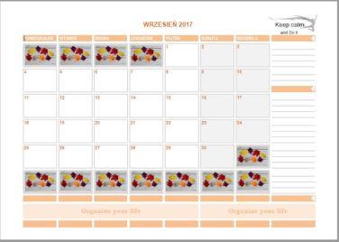 Kalendarz wrzesień 2017 2